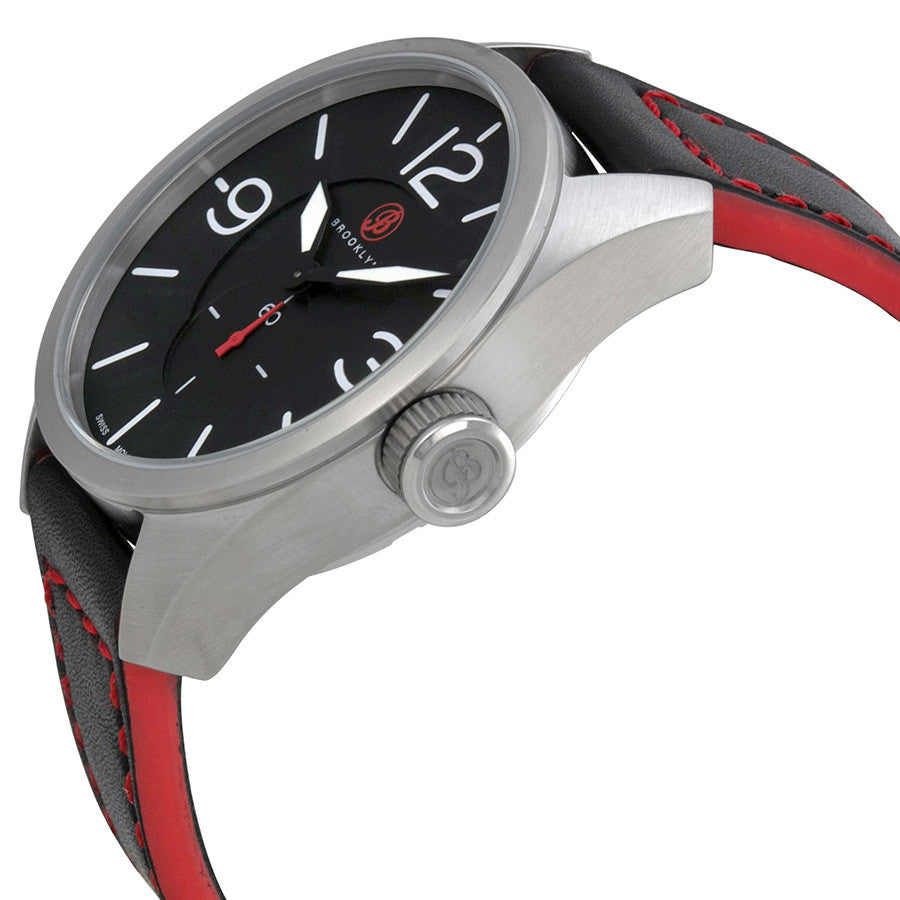 Brooklyn Lafayette Black Dial Black Red Accent Leather Swiss Quartz Mens Watch CLA-H