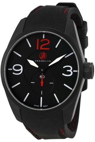 Brooklyn Lafayette Black Dial Black Red Stitching Rubber Strap Swiss Quartz Mens Watch CLA-I
