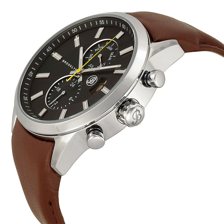 Brooklyn Fulton Black Dial Brown Leather Swiss Quartz Mens Watch FL-SS-BK-BR