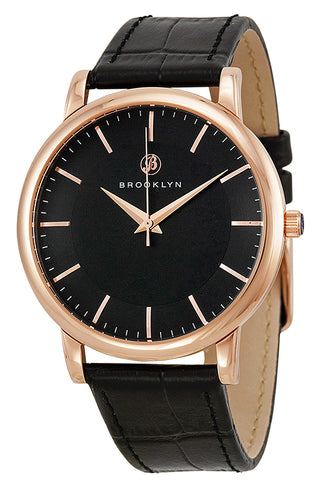Brooklyn Myrtle Black Dial Black Leather Swiss Quartz Mens Watch MY-RG-BK-BK