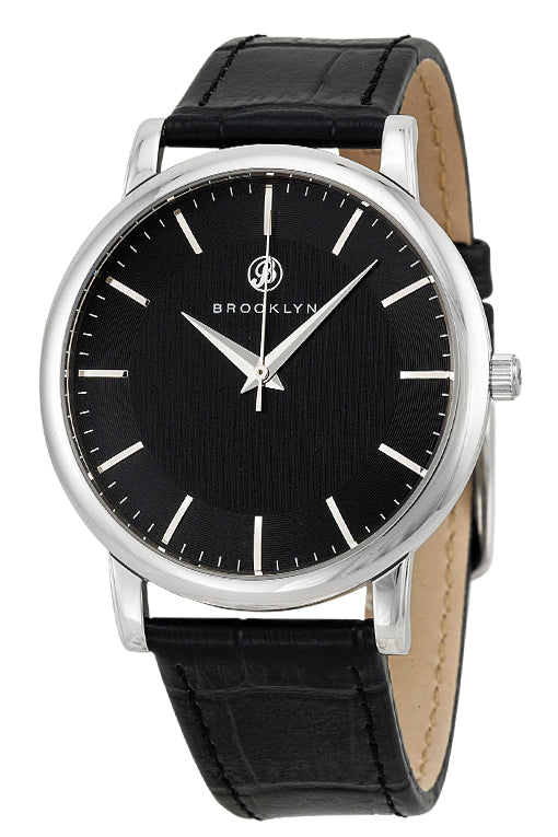 Brooklyn Myrtle Black Dial Black Leather Swiss Quartz Mens Watch MY-SS-BK-BK