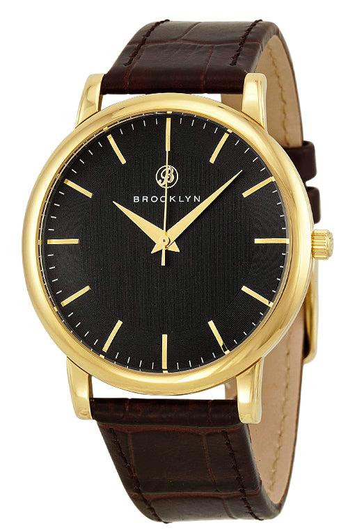 Brooklyn Myrtle Black Dial Brown Leather Swiss Quartz Mens Watch MY-YG-BK-BR