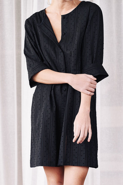 Black Hailspot Cotton Swimsuit Coverup