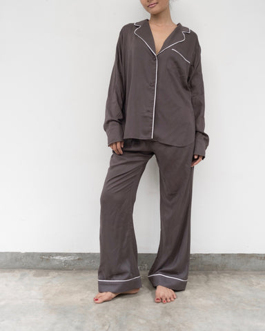 Long Pant Tropical Pyjamas Chocolate or Emerald (Prices in AUD)