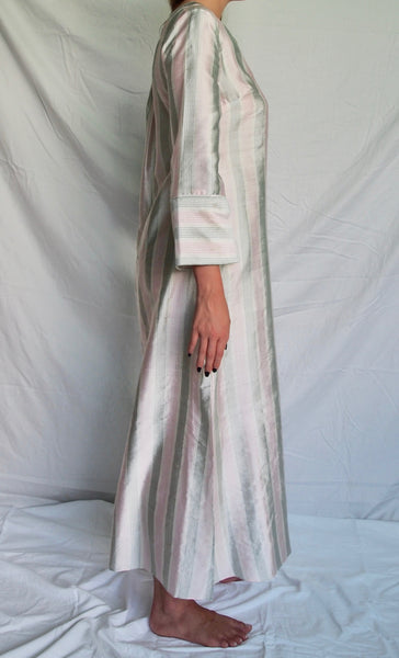 Green, Pink and White Striped Silk Kaftan