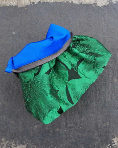 Beach Clutch Green Monstera Leaf
