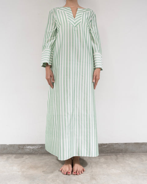 Green and White Striped Silk Kaftan (Prices in AUD)