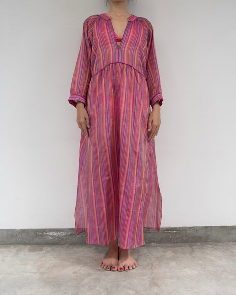 Hot Pink Striped Silk Sundress (Prices in AUD)