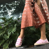 Ice Pink and White Silk Striped Espadrilles
