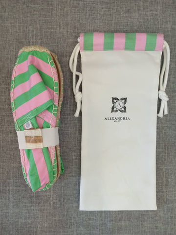 Mint and Rose Silk Striped Espadrilles