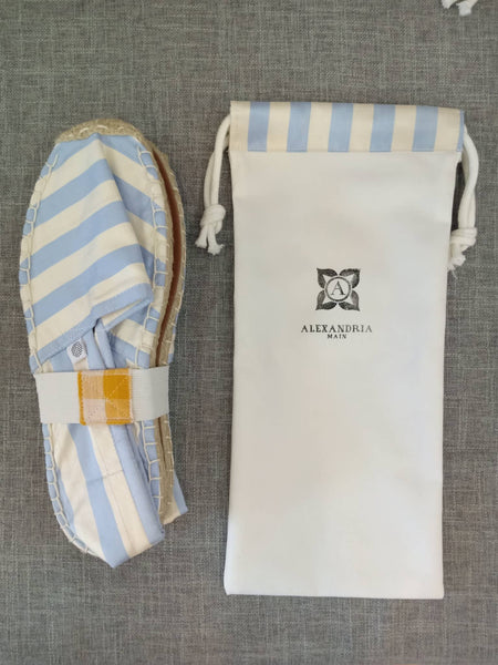 Iced Blue and White Silk Striped Espadrilles