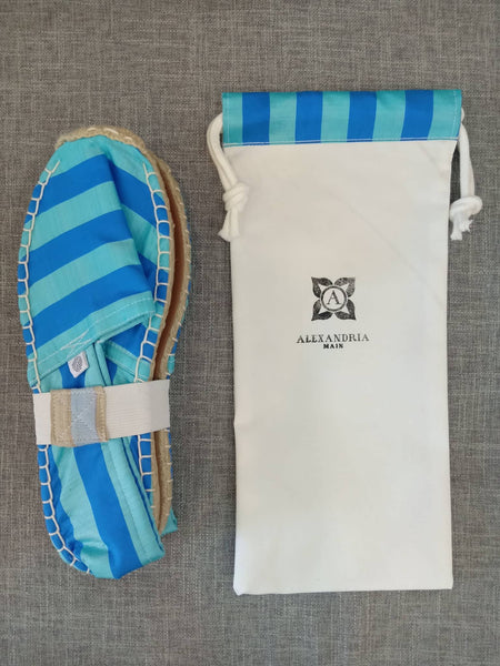 Blue on Blue Silk Striped Espadrilles
