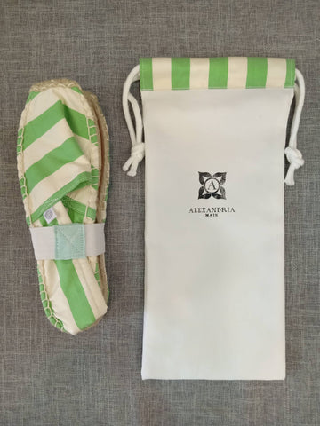Green and White Silk Striped Espadrilles