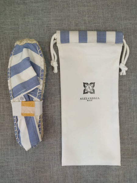 Sea Blue and White Silk Striped Espadrilles