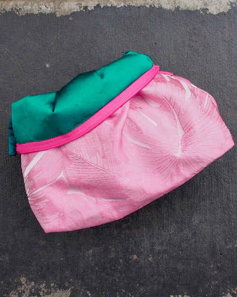 Beach Clutch Pink Monstera Leaf