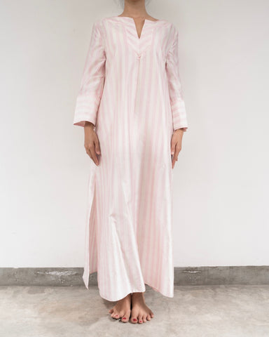 Ice Pink and White Striped Silk Kaftan (Prices in AUD)