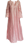 Red and White Striped Silk Kaftan (Prices in AUD)