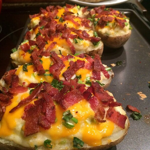 baked potato, cheddar cheese, bacon