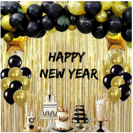 black and gold balloons, happy new year, balloons, party table, cake, dessert table, wall decoration, wall decors