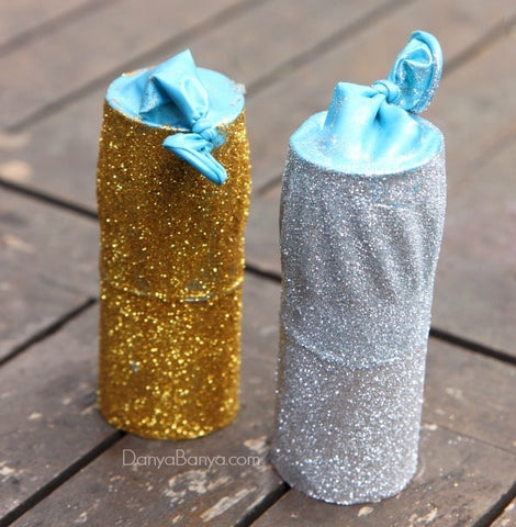 party poppers, DIY party poppers, empty tissue roll, gold and silver
