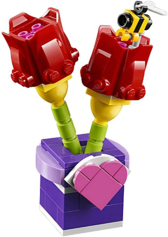 tulips, flowers for valentine's day, lego tulips, bee, red tulips