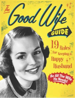 good wife guide, wife book, yellow book, lady, polo shirt