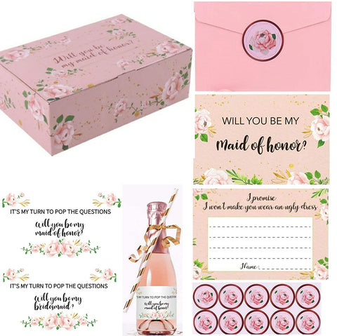 will you be my bridesmaid, will you be may maid of honor, bridesmaid proposal, champagne, gift box, proposal card, pink stuff