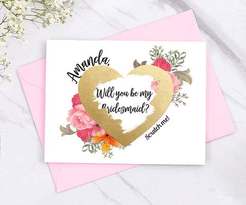 scratch card, scratch off card, will you be my bridesmaid, bridesmaid card, hear, pink card
