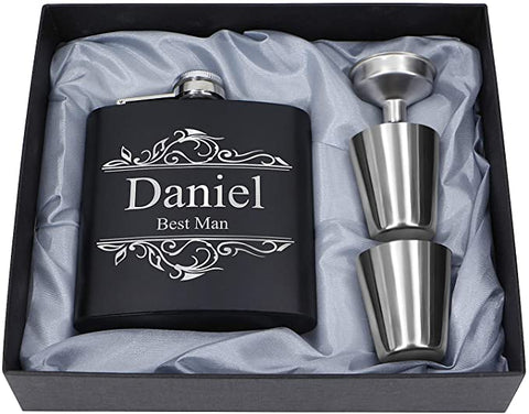 stainless steel shot glass, black box, customized hip flask, engraved hip flask set