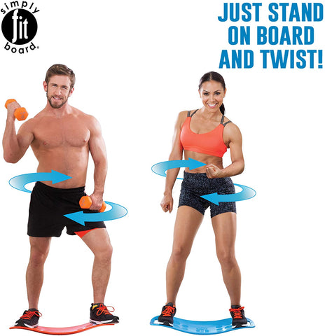Man and woman working out, balance board, orange dumbbell,