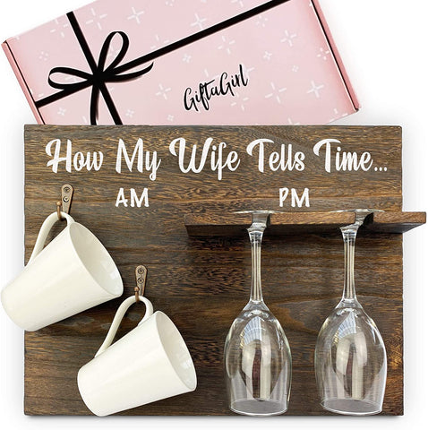 how my wife tells time, wall decoration, wine glass rack, cup rack, white cups, wine glass