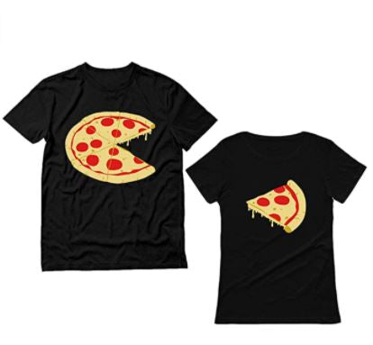 his and her shirt, his and her black shirt, pizza shirt, pizza on shirt, missing pizza slice