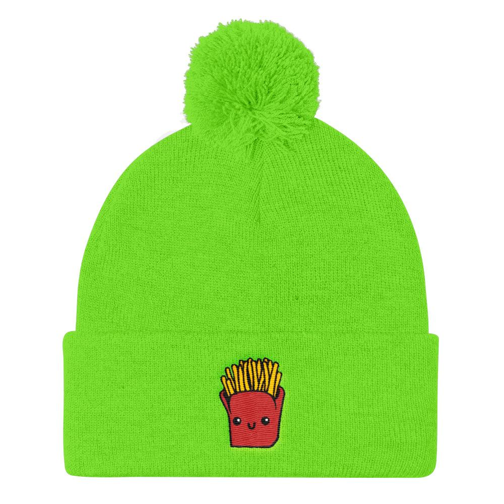 Potato Parcel Mr. Fries Pom Pom Knit Cap Neon Green