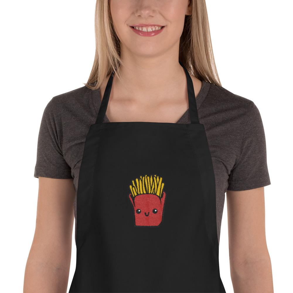 Potato Parcel Mr. Fries Embroidered Apron Black