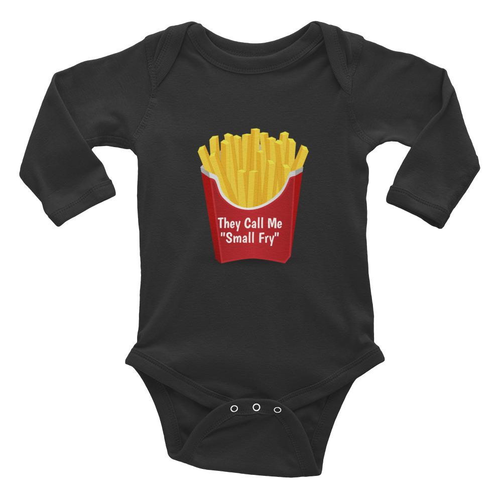 "Potato Parcel ""Small Fry"" Infant Long Sleeve Bodysuit Black / 6M"