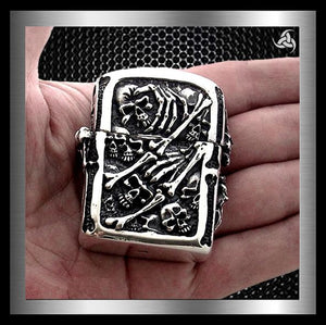 Biker Accessories Lighters, Leather Goods, Skull Items, T Shirts, Earrings At Sinister Silver Co.