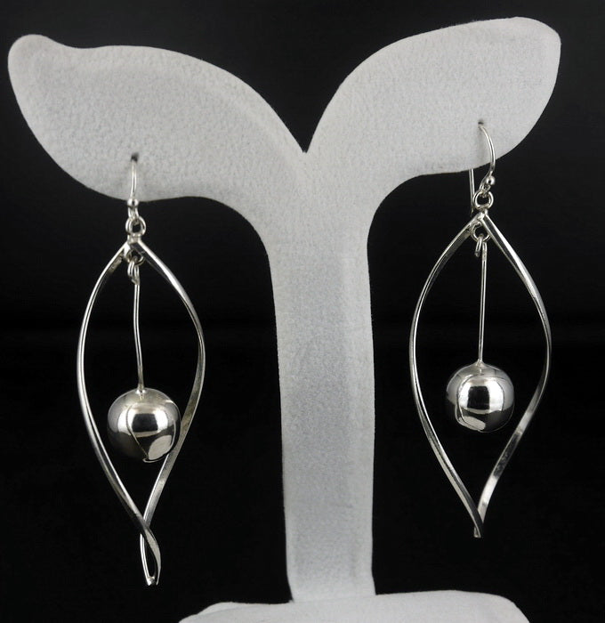 925 Sterling Silver Jewelry twist Dangle Earrings E-02