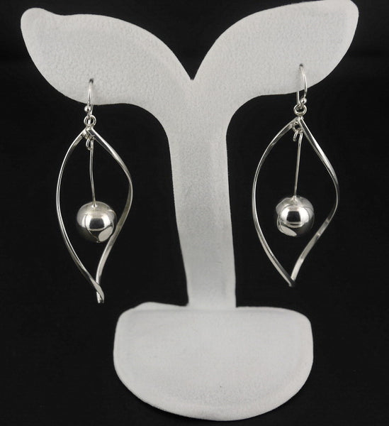 925 Sterling Silver Jewelry 1-Pair Twist Dangle Earrings E-02