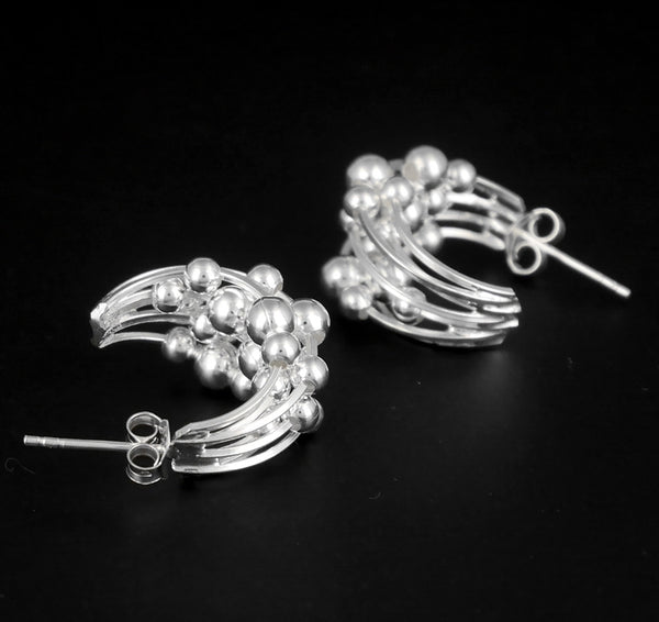 Hoop Earrings Moving Ball 1-Pair 925 Sterling Silver Jewelry - Sinister Silver Co.