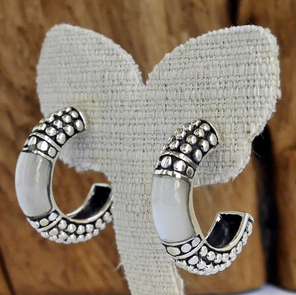 Bali Hoop MOP Inlay Earrings 925 Sterling Silver Jewelry
