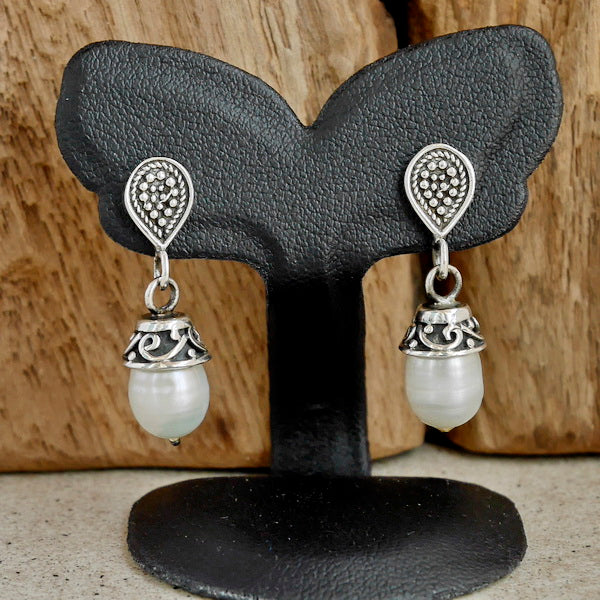 White Pearl Earrings Arabesque Design Earrings 1-Pair 925 Sterling Silver Jewelry