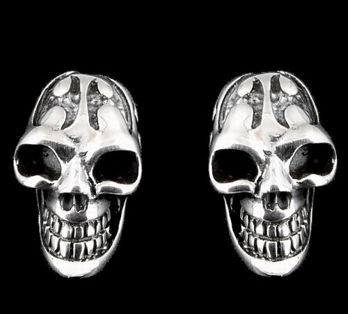 Biker Tribal Skull Earrings Sterling Silver Jewelry 1-Pair - Sinister Silver Co.