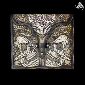 "PREMIUM Tooled Skulls iPad Hand Carved Leather Case 9.6"" X 8.3"" Universal Fit - Sinister Silver Co."