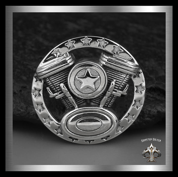 Biker V Twin Engine Concho Sterling Silver Screw Back - Sinister Silver Co.