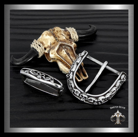 Sterling Silver Biker Skull Gang Two Piece Belt Buckle - Sinister Silver Co.