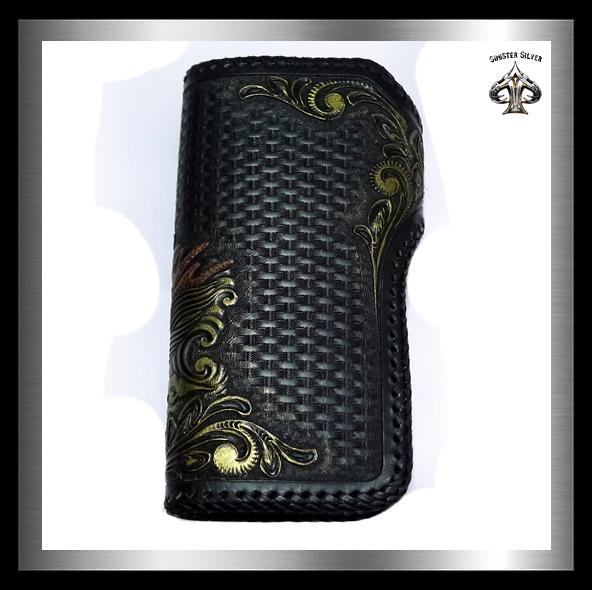 Biker Dragon Wallet Premium Hand Carved Hand Tooled Leather - Sinister Silver Co.