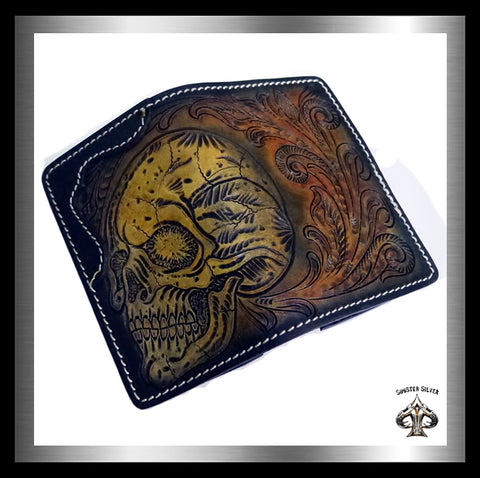 Biker Skull Wallet Premium Hand Carved Hand Tooled Leather - Sinister Silver Co.
