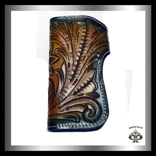 PREMIUM Biker Cross Wallet Hand Carved Hand Tooled Leather - Sinister Silver Co.