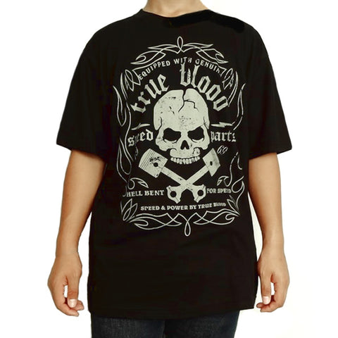Large Mens Black Hot Rod Piston Skull Speed Parts T Shirt - Sinister Silver Co.