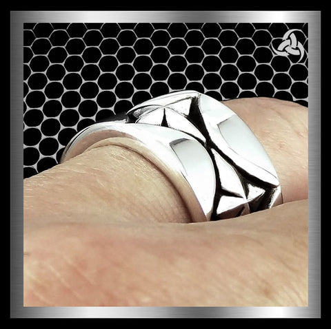 Mens Biker Ring Aztec Mayan Star Sterling Silver Size 9 to 11 - Sinister Silver Co.